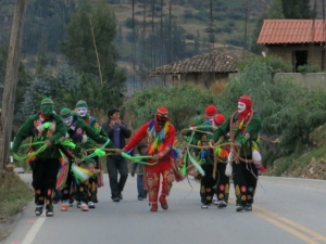 Dancers make their way to Church - Peru