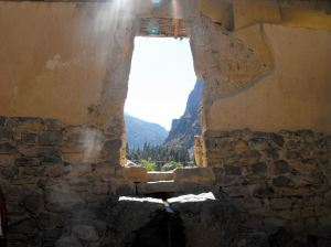 Inca Window in Fortaleza, Ollantaytambo, Peru